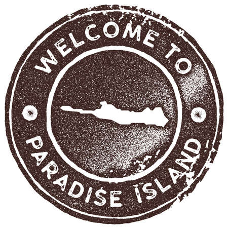 Paradise Island map vintage stamp. Retro style handmade label, badge or element for travel souvenirs. Brown rubber stamp with island map silhouette. Vector illustration. Illustration