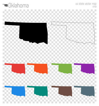 Oklahoma high detailed map. Us state silhouette icon. Isolated Oklahoma black map outline. Vector illustration.