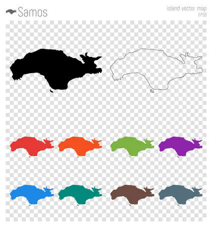 Samos high detailed map, island silhouette icon. Isolated Samos black map outline vector illustration.