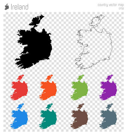 Ireland high detailed map, country silhouette icon. Isolated Ireland black map outline vector illustration.
