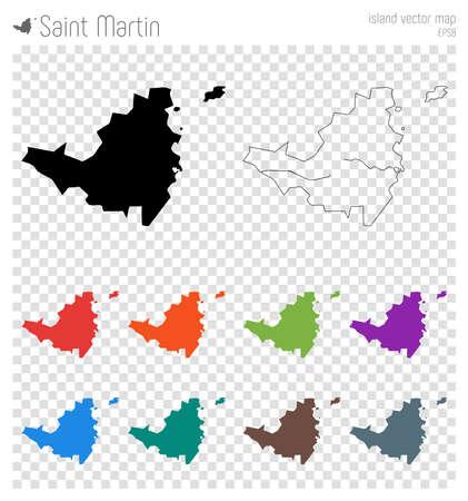 Szczegółowa mapa Saint Martin. Ikona sylwetka wyspy. Na białym tle czarny kontur mapy Saint Martin. Ilustracja wektorowa.