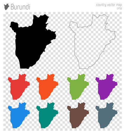 Burundi high detailed map. Country silhouette icon. Isolated Burundi black map outline. Vector illustration.