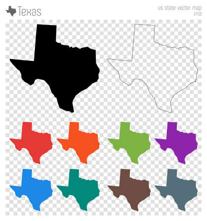 Texas high detailed map. Us state silhouette icon. Isolated Texas black map outline. Vector illustration.