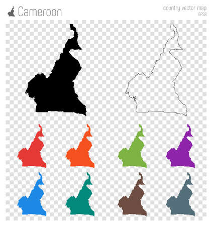 Cameroon high detailed map. Country silhouette icon. Isolated Cameroon black map outline. Vector illustration. Illustration