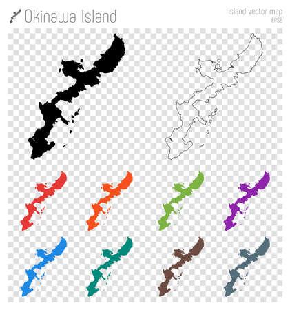 Okinawa Island high detailed map. Island silhouette icon. Isolated Okinawa Island black map outline. Vector illustration.