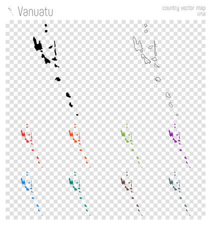 Vanuatu high detailed map. Country silhouette icon. Isolated Vanuatu black map outline. Vector illustration.