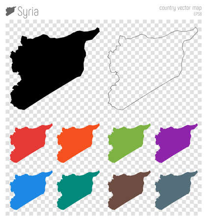 Syria high detailed map. Country silhouette icon. Isolated Syria black map outline. Vector illustration.