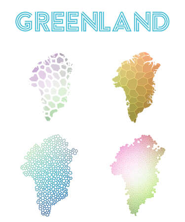 Greenland polygonal map. Mosaic style maps collection. Bright abstract tessellation, geometric, low poly, modern design. Greenland polygonal maps for infographics or presentation. Vettoriali