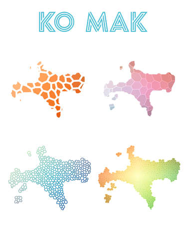 Ko Mak polygonal island map. Mosaic style maps collection. Bright abstract tessellation, geometric, low poly, modern design. Ko Mak polygonal maps for infographics or presentation. Ilustracje wektorowe