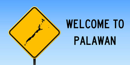 Palawan map on road sign. Wide poster with Palawan island map on yellow rhomb road sign. Vector illustration.