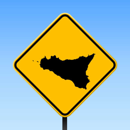 Sicilia map on road sign. Square poster with Sicilia island map on yellow rhomb road sign. Vector illustration.