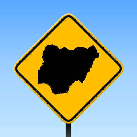Nigeria map on road sign. Square poster with Nigeria country map on yellow rhomb road sign. Vector illustration.