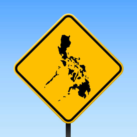 Philippines map on road sign.