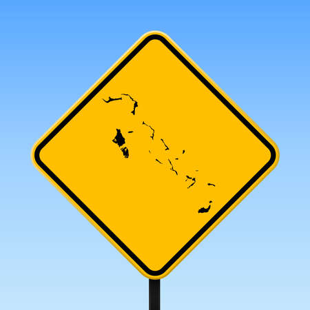Bahamas map on road sign. Square poster with Bahamas country map on yellow rhomb road sign. Vector illustration.