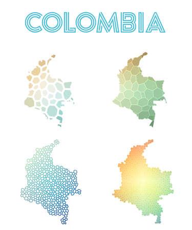 Colombia polygonal map. 일러스트