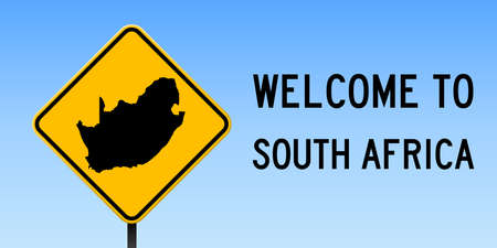 South Africa map on road sign. Illustration