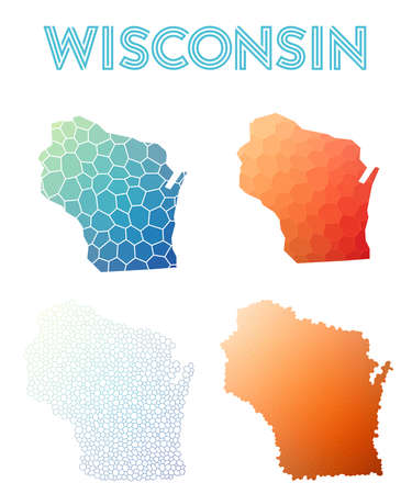 Wisconsin polygonal us state map. Mosaic style maps collection.