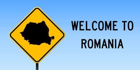 Romania map on road sign.