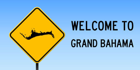 Grand Bahama map on road sign. Wide poster with Grand Bahama island map on yellow rhomb road sign. Vector illustration. Illustration