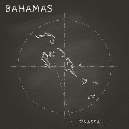Bahamas chalk map with capital marked hand drawn on textured school blackboard. Chalk Bahamas outline with Nassau marked Vector illustration.