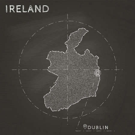 Ireland chalk map with capital marked hand drawn on textured school blackboard. Çizim