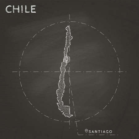 Chile chalk map with capital marked hand drawn on textured school blackboard. Chalk Chile outline with Santiago marked. Vector illustration.