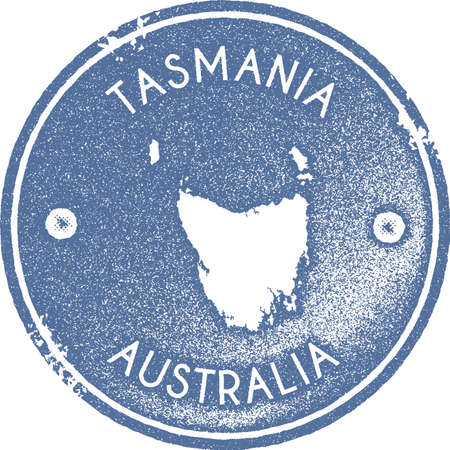 Tasmania map vintage stamp. Retro style handmade label, badge or element for travel souvenirs. Light blue rubber stamp with island map silhouette vector illustration.