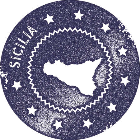 Sicilia map vintage stamp. Retro style handmade label, badge or element for travel souvenirs. Deep purple rubber stamp with island map silhouette. Vector illustration.