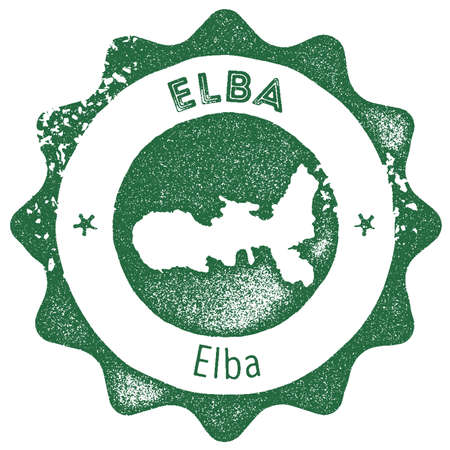 Elba map vintage stamp. Retro style handmade label, badge or element for travel souvenirs. Dark green rubber stamp with island map silhouette vector illustration.
