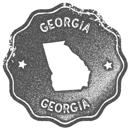 Georgia map vintage stamp. Retro style handmade label, badge or element for travel souvenirs. Grey rubber stamp with us state map silhouette. Vector illustration.