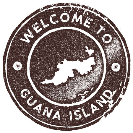 Guana island map vintage stamp retro style handmade label badge or element for travel