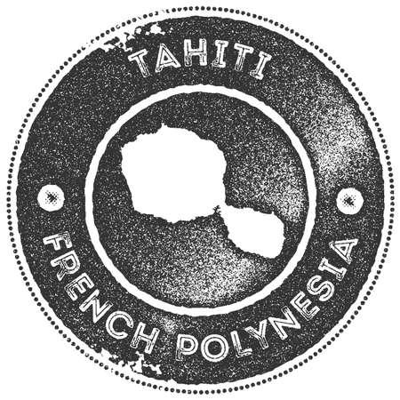 Carte vintage de Tahiti. Étiquette, badge ou élément fait main de style rétro pour des souvenirs de voyage. Timbre en caoutchouc gris foncé avec la silhouette de la carte de l'île. Illustration vectorielle.