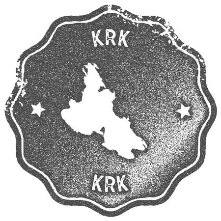 Krk map vintage stamp. Retro style handmade label, badge or element for travel souvenirs. Grey rubber stamp with island map silhouette. Vector illustration. 矢量图像