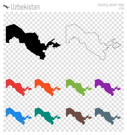 Uzbekistan high detailed map. Country silhouette icon. Isolated Uzbekistan black map outline. Vector illustration.