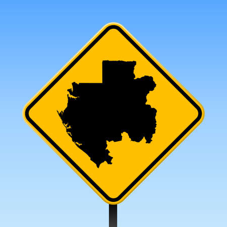Gabon map on road sign. Square poster with Gabon country map on yellow rhomb road sign. Vector illustration. Иллюстрация