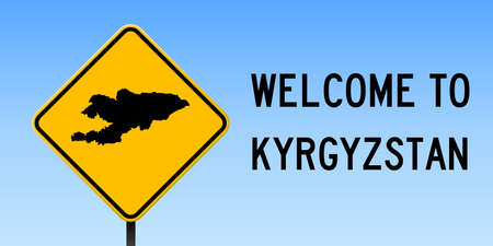 Kyrgyzstan map on road sign. Wide poster with Kyrgyzstan country map on yellow rhomb road sign. Vector illustration.