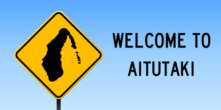 Aitutaki map on road sign. Wide poster with Aitutaki island map on yellow rhomb road sign. Vector illustration.