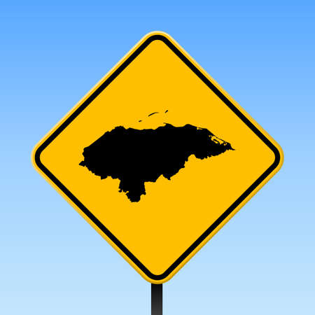 Honduras map on road sign. Square poster with Honduras country map on yellow rhomb road sign. Vector illustration.