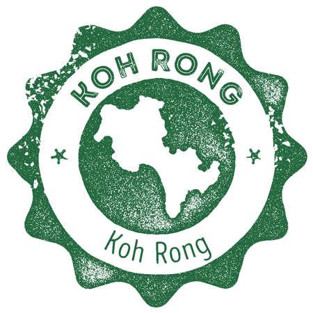 Koh Rong map vintage stamp