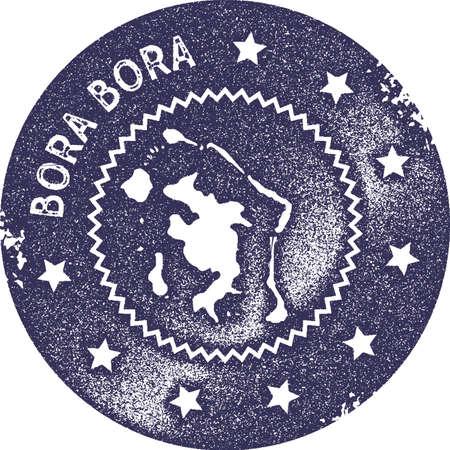 Timbre vintage de carte de Bora Bora. Étiquette, badge ou élément fait main de style rétro pour des souvenirs de voyage. Timbre en caoutchouc violet foncé avec la silhouette de la carte de l'île. Illustration vectorielle.