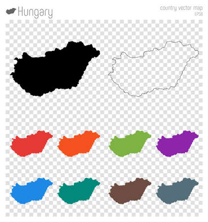 Hungary high detailed map. Country silhouette icon. Isolated Hungary black map outline. Vector illustration.