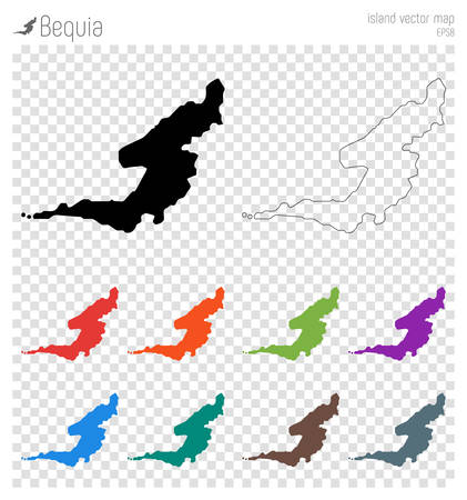 Bequia high detailed map. Island silhouette icon. Illustration