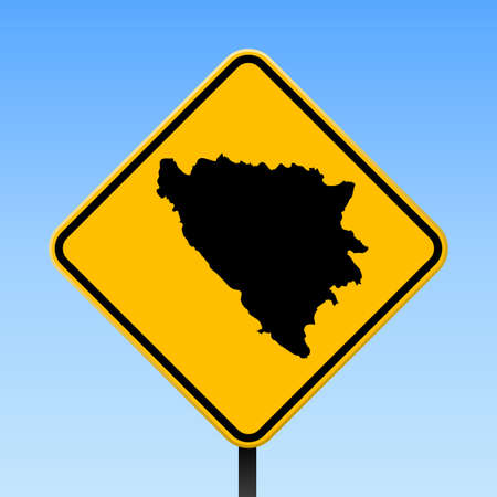 Bosnia map on yellow rhomb road sign