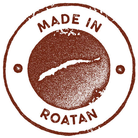 Roatan map vintage stamp. Retro style handmade label, badge or element for travel souvenirs. Red rubber stamp with island map silhouette. Vector illustration.