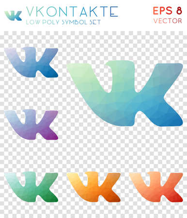 Vkontakte geometric polygonal icons. Brilliant mosaic style symbol collection. Exceptional low poly style. Modern design. Vkontakte icons set for infographics or presentation.