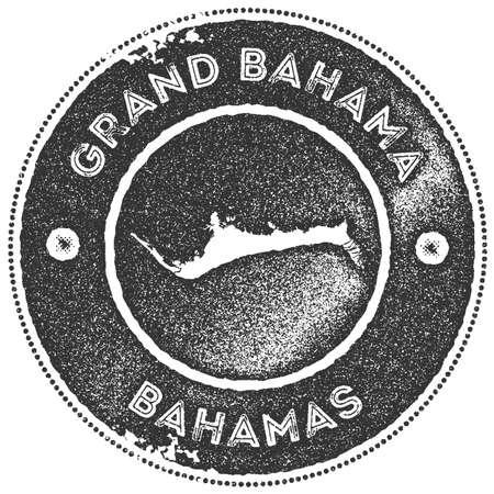 Grand Bahama map vintage stamp. Retro style handmade label, badge or element for travel souvenirs. Dark grey rubber stamp with island map silhouette. Vector illustration.