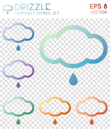 Drizzle geometric polygonal icons. Appealing mosaic style symbol collection. Lively low poly style. Modern design. Drizzle icons set for infographics or presentation. Illustration