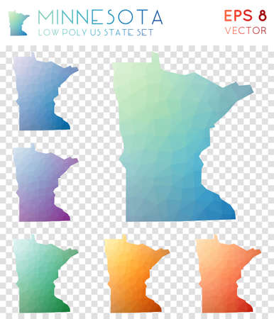 Minnesota geometric polygonal maps, mosaic style us state collection. Ecstatic low poly style, modern design. Minnesota polygonal maps for infographics or presentation. Illustration