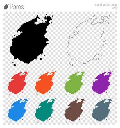 Paros high detailed map. Island silhouette icon. Isolated Paros black map outline. Vector illustration. Çizim