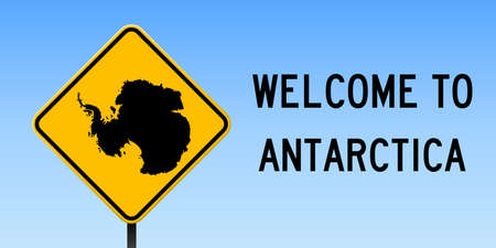 Antarctica map on road sign. Wide poster with Antarctica country map on yellow rhomb road sign. Vector illustration.